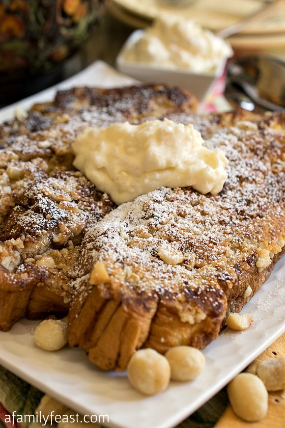 An amazing Hawaiian French Toast with a macadamia crust, topped with a pineapple mascarpone cheese topping! Wow - This is delicious!
