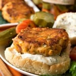 Zesty Salmon Burgers with Dill Spread