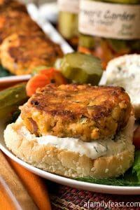 Zesty Salmon Burgers with Dill Spread - A Family Feast