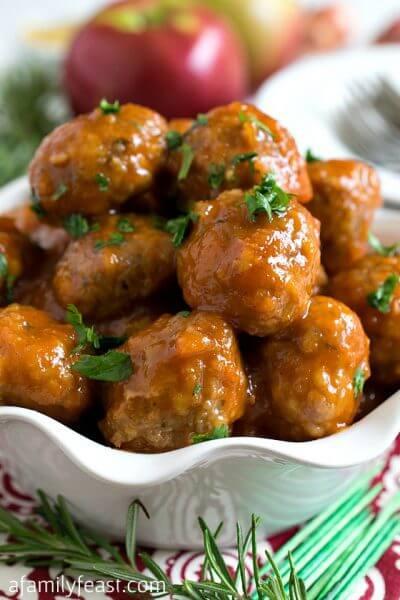 Turkey Cocktail Meatballs with Apple Mustard Glaze - A Family Feast