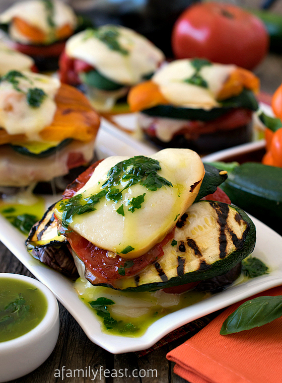 Grilled Italian Vegetable Napoleons with Basil Oil - A Family Feast