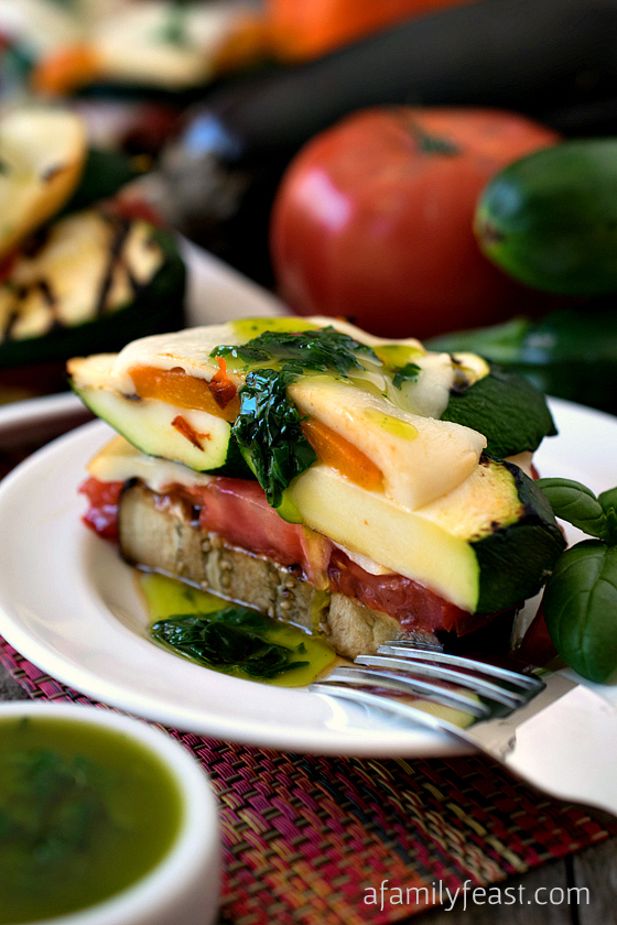 Grilled Vegetable Napoleons with Basil Oil - A delicious and impressive way to serve tender, fresh vegetables with a wonderful smoky flavor!