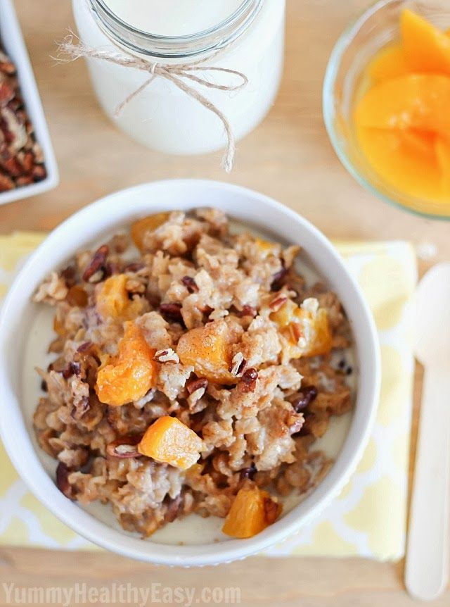 Slow Cooker Peach Oatmeal - 25-Plus Perfect Peach Recipes