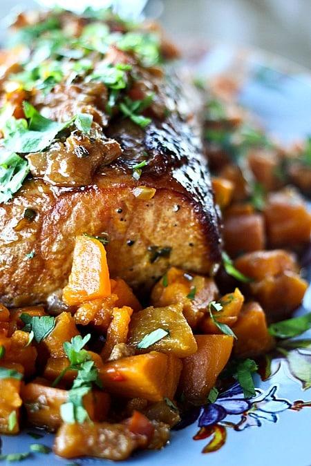 Slow Cooker Peach Salsa Pork Roast with Sweet Potatoes - 25-Plus Perfect Peach Recipes