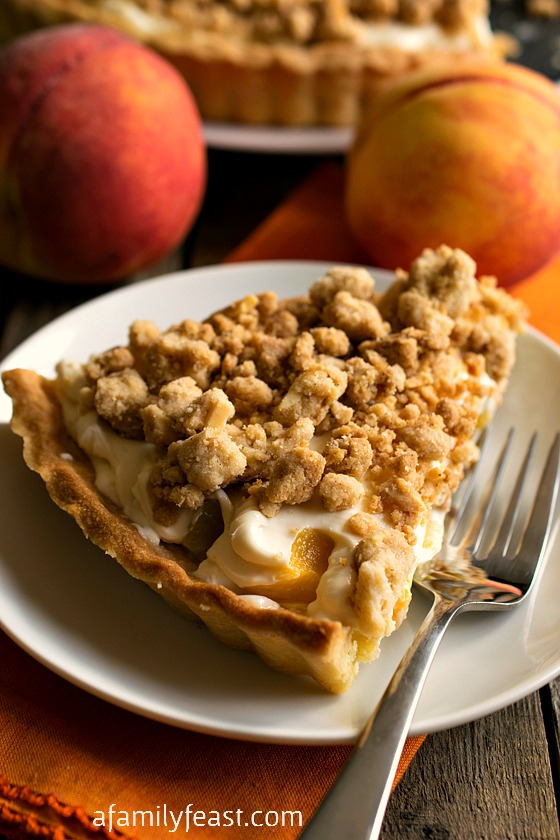 Peaches and Cream Almond Crumb Tart - A Family Feast
