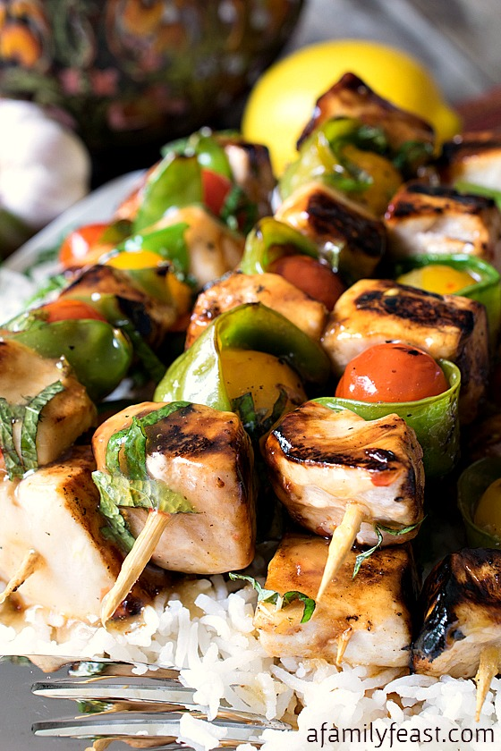 Lemon-Glazed Swordfish Skewers Over Rice - A Family Feast