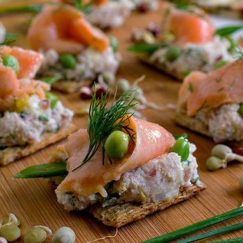 Ceviche Salmon and Peas on Triscuit Crackers - A Family Feast