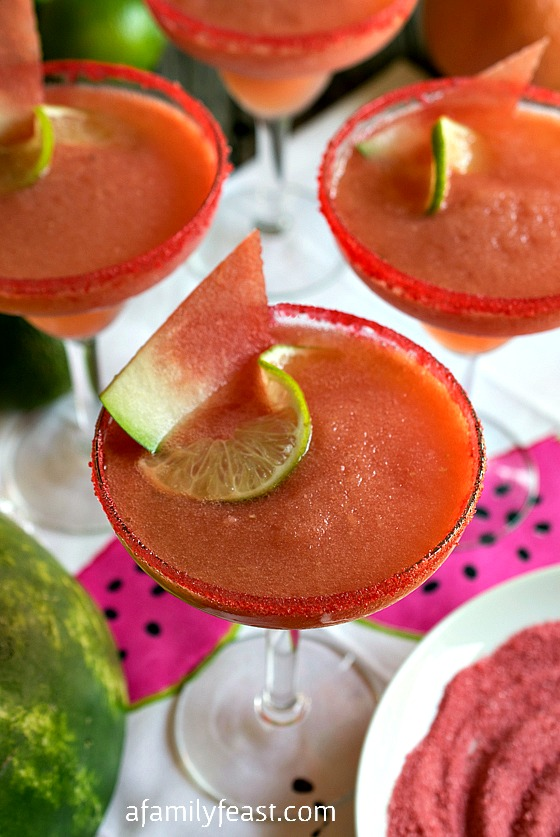 Watermelon and Pink Grapefruit Frozen Margaritas - a fun, festive and refreshing summertime beverage!