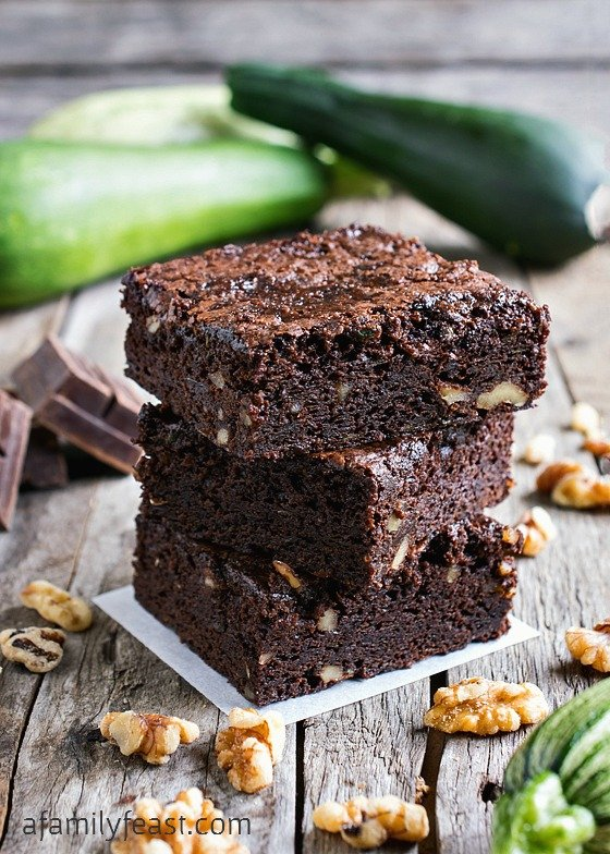 Zucchini Brownies - Moist, dense and chewy brownies with zucchini added! Delicious!
