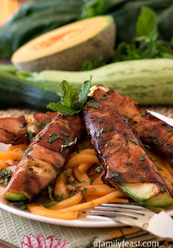 Prosciutto Wrapped Zucchini Over Melon Pasta - A Family Feast