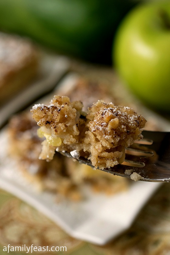 Apple Zucchini Crumb Bars - You'll never guess that there is sliced zucchini in these bars among the apples! Easy and delicious - and a great way to use up your garden zucchini!