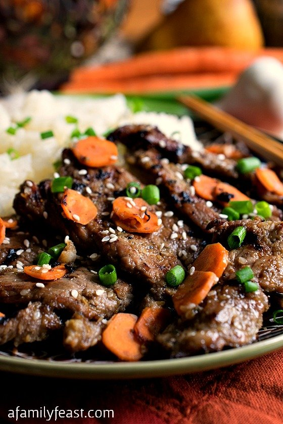 Bulgogi - A delicious version of Korean Beef Barbecue that anyone can make at home. No need to make a trip to a specialty market - our recipe uses commonly-found ingredients.