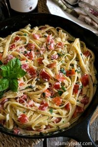 Fettuccine in Cream, Tomato & Basil Sauce - A Family Feast