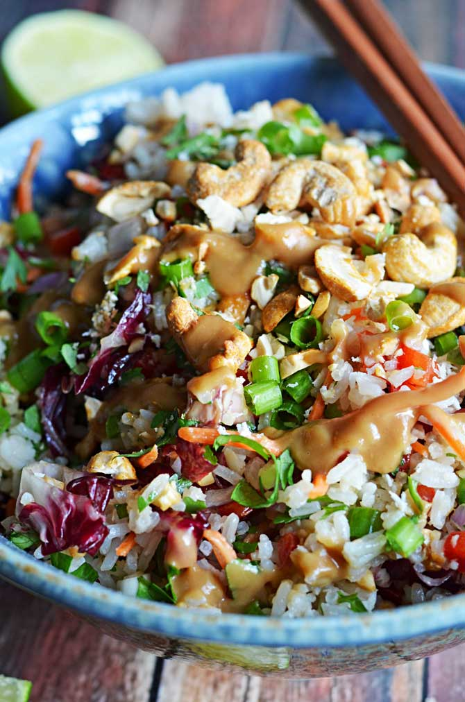 Thai Cashew Coconut Rice with Ginger Peanut Sauce - 30+ Remarkable Rice Recipes