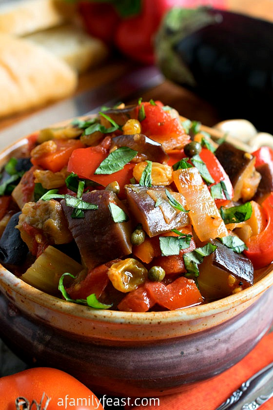 Caponata - A super flavorful and delicious Sicilian vegetable dish that is fantastic served hot or cold. Delicious spread on bread or as a side dish.