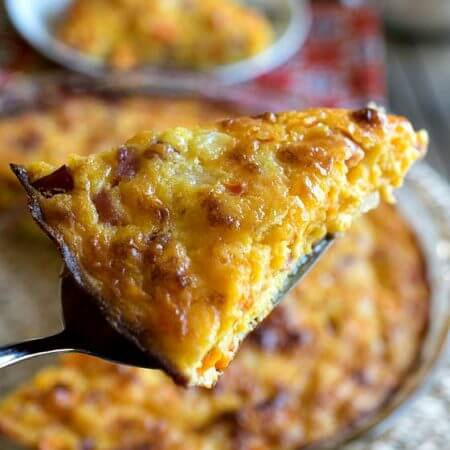 Crustless Ham and Cheddar Quiche - A Family Feast