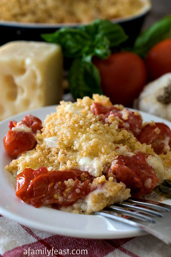 Fresh Tomato Au Gratin - Pure comfort food! This creamy, cheesy casserole is a delicious way to enjoy fresh summer tomatoes!
