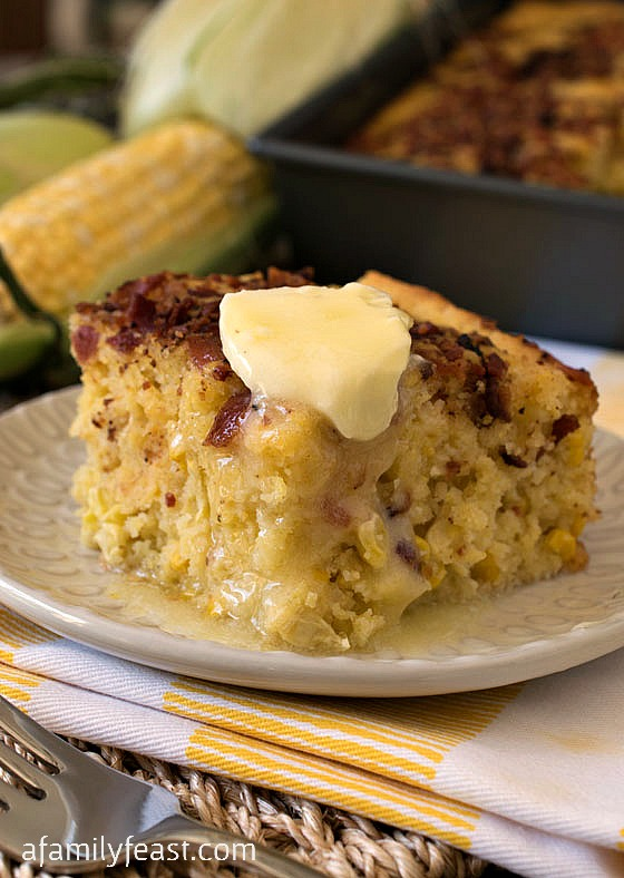 Bacon Topped Cornbread - We've tried many cornbread recipes and this is the best around! Great for making stuffings, served with chili or just enjoyed on it's own!