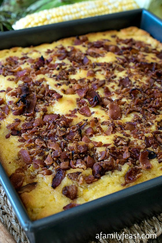 Bacon Topped Cornbread - A Family Feast