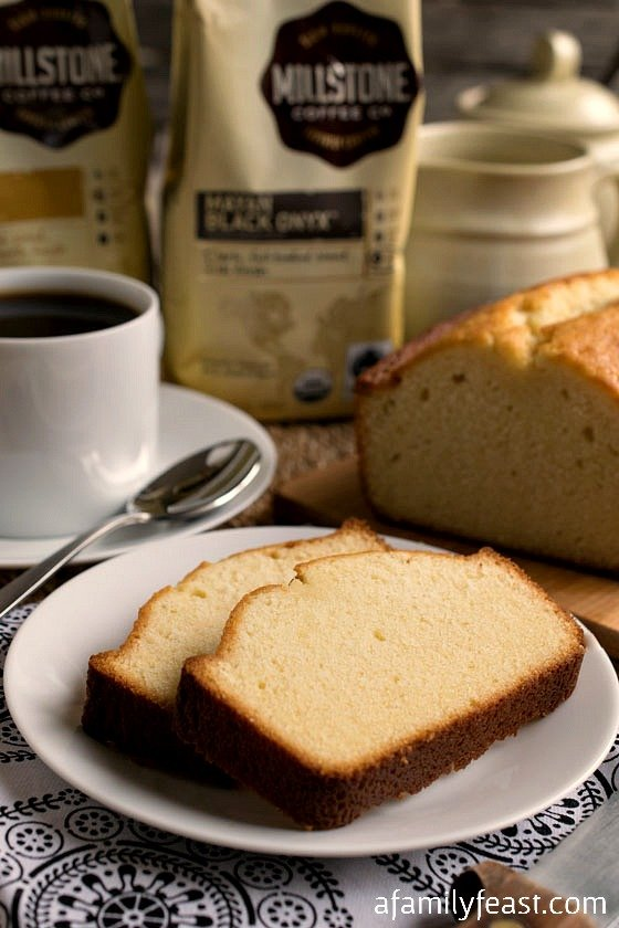 Condensed Milk Pound Cake - A lightly sweet and super moist cake that is perfect for breakfast or dessert! #MillstoneCoffee