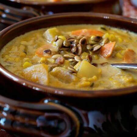 Pumpkin Corn Chowder - A Family Feast