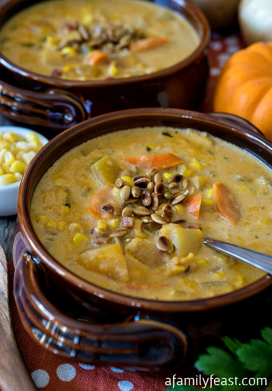 Pumpkin Corn Chowder - A delicious and hearty soup - perfect for fall - with an unexpectedly delicious flavor profile thanks to the addition of garam masala.