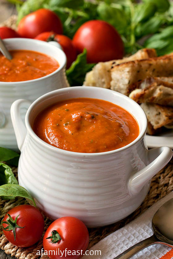 A classic, hearty Tomato Soup recipe that everyone should have in their recipe collection! Uses fresh or canned plum tomatoes. Super delicious!