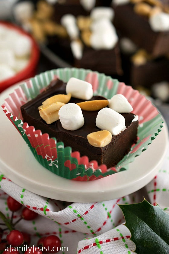 Rocky Road Fudge Bites - A simple and delicious dessert featuring KRAFT brands you know and love!