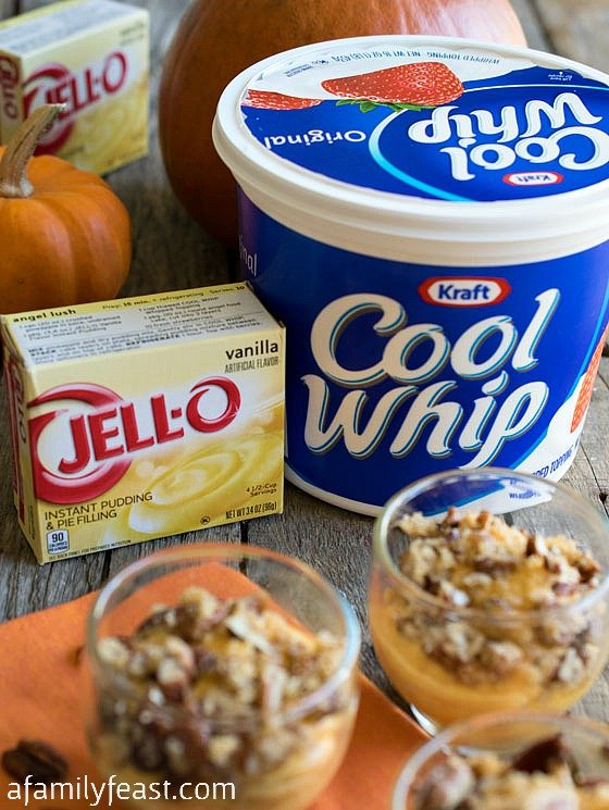 Praline Pumpkin Mousse - A super simple, fool proof and delicious dessert made with KRAFT COOL WHIP Whipped Topping and JELL-O Vanilla Flavor Instant Pudding.