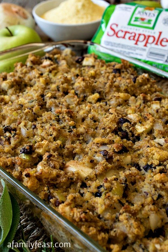 Scrapple Cornbread Stuffing - This delicious stuffing has great flavor thanks to scrapple, cornbread, cranberries, walnuts and fresh rosemary and sage!
