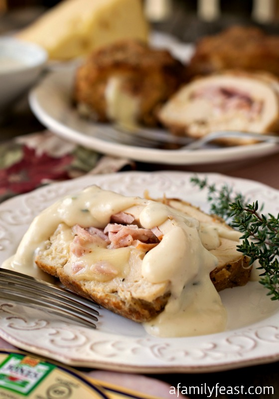 Chicken Cordon Bleu - A delicious twist on a classic recipe - we've swapped the ham with Jones Dairy Farm Canadian Bacon for even more fantastic flavors!