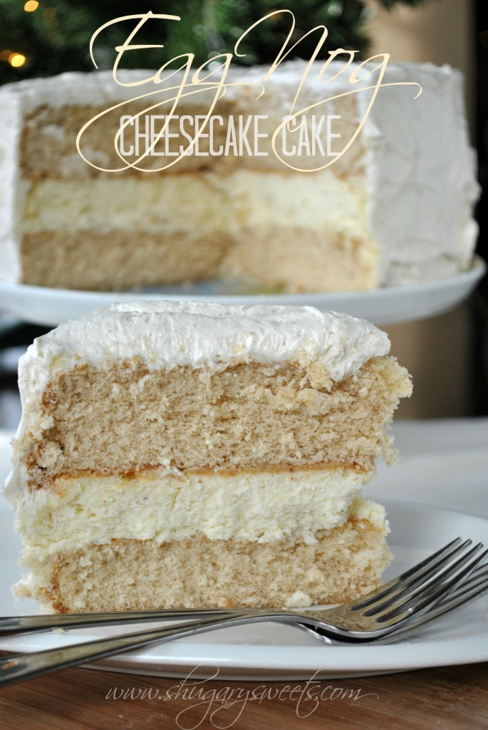 Eggnog Cheesecake Cake -30+ Festively Delicious Eggnog Recipes