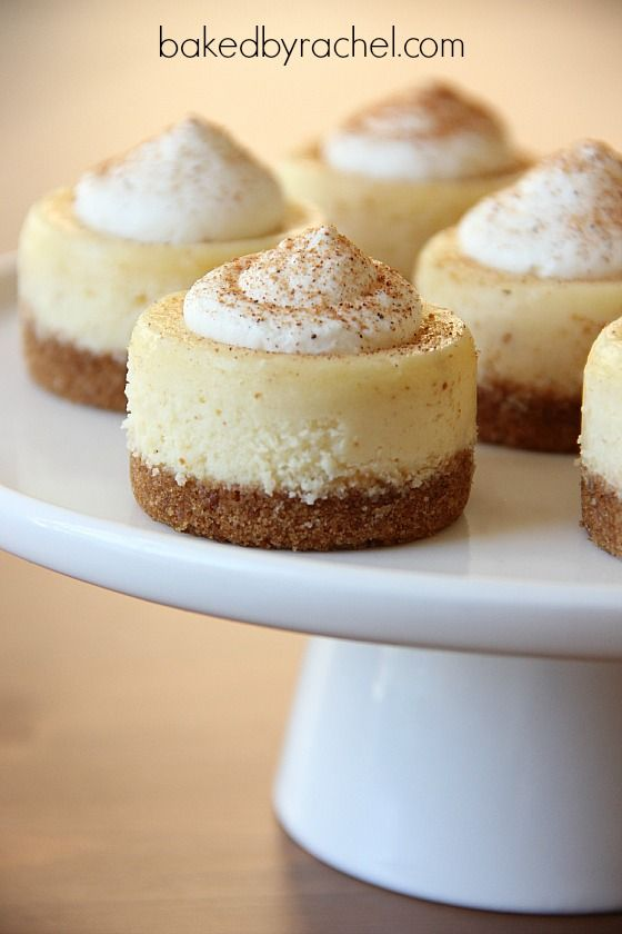 Mini Eggnog Cheesecakes -30+ Festively Delicious Eggnog Recipesl