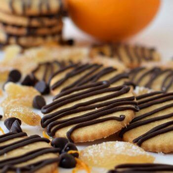 Orange and Ginger Cookies with Chocolate Drizzle - A Family Feast