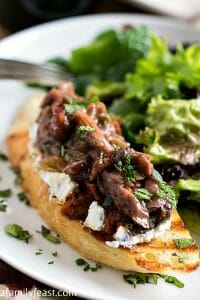 Lamb and Eggplant Crostini with Salad - A Family Feast