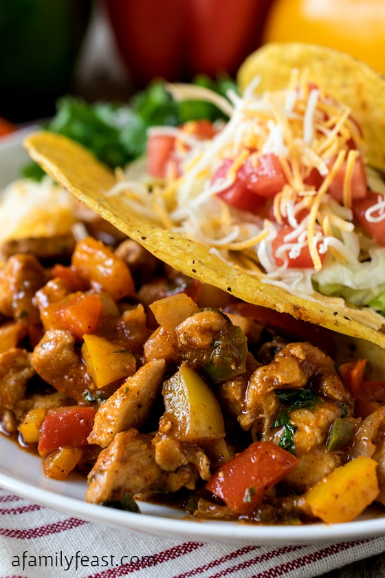 Confetti Chicken Tacos - A super simple, super quick and super delicious meal the whole family will love!