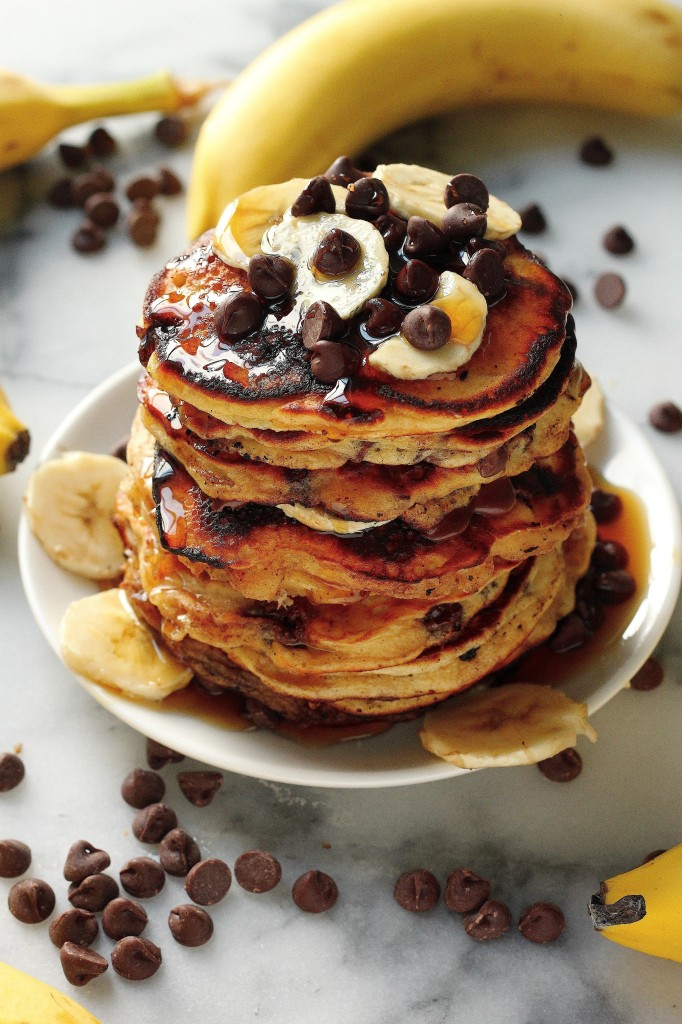 Malted Chocolate Chip Banana Pancakes - 30+ Recipes for Malted Milk Lovers