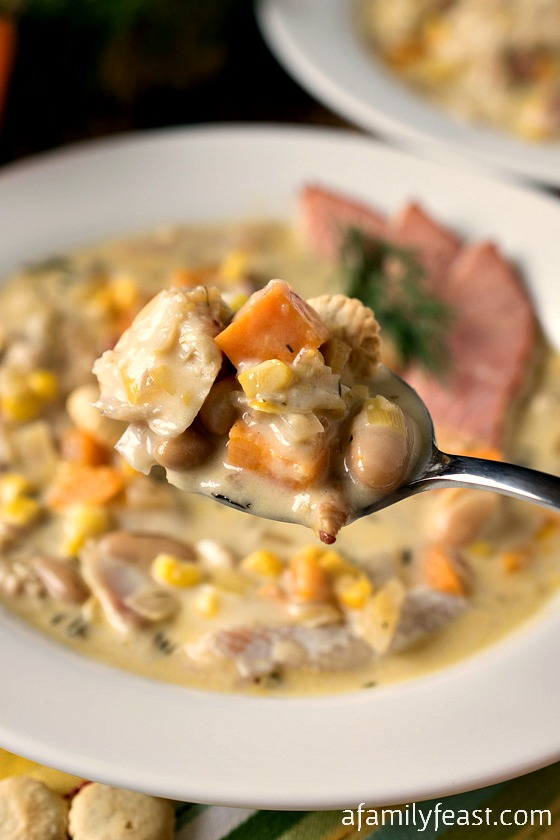 Smoked Fish Chowder - The ultimate comfort food! Smoked Fish Chowder with pancetta, leeks, beans and creamed corn.  Amazing!