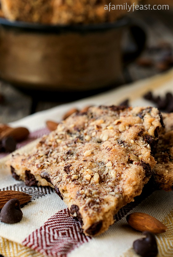 Almond Malted Brittle Bars - Seriously delicious and easy to make!  Almonds, malted milk powder, chocolate chips in crispy, crunchy cookie!