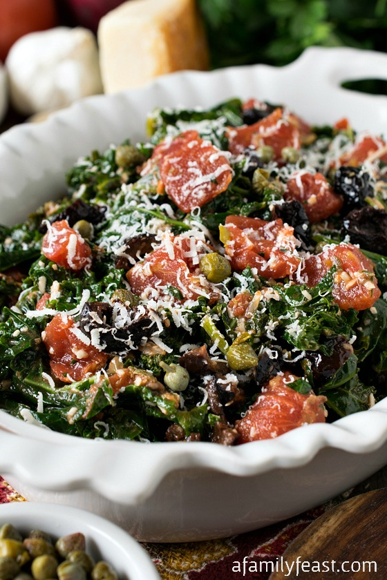 Kale Puttanesca - A simple, fresh and zesty way to enjoy cooked kale! The flavors are fantastic!