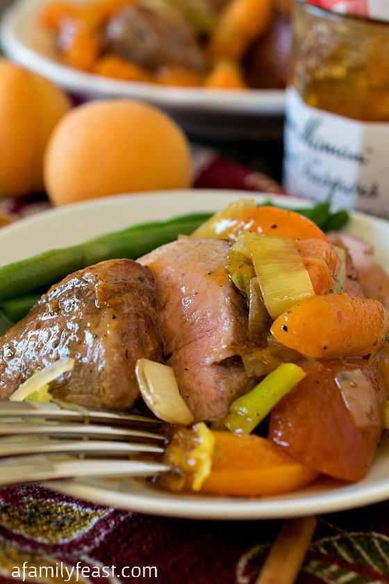 Pork Tenderloin Tips with Apricot Sauce - A fantastic restaurant-quality dinner can be on the table in 30 minutes!