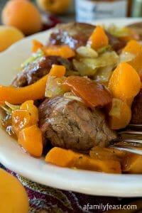 Pork Tenderloin Tips with Apricot Sauce - A Family Feast