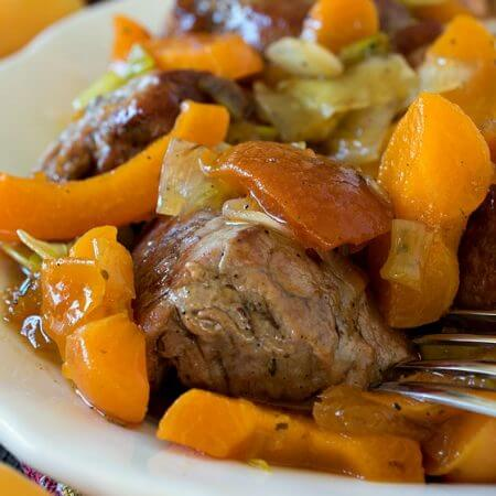 Pork Tenderloin Tips with Apricot Sauce - A Family Feast