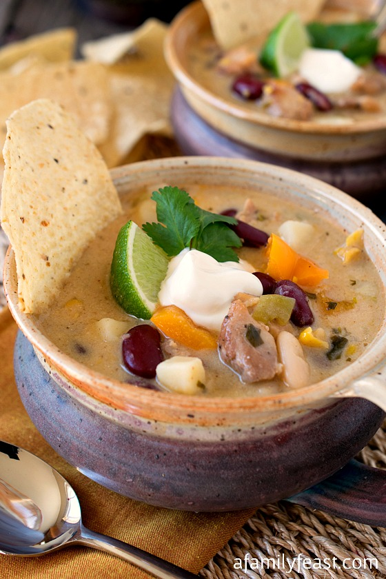 White Chili with Chicken - A quick, easy and delicious meal that the whole family will love!
