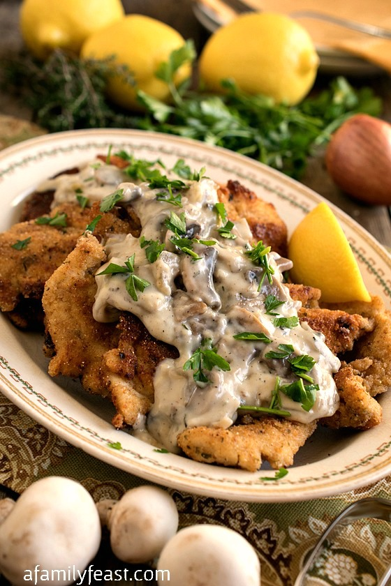 Chicken Escalope with Mushroom Sauce - A simple, elegant meal using the French technique of thinning the chicken with a mallet before cooking.
