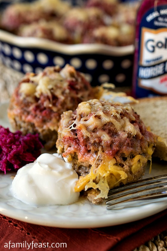 Moscows are a uniquely delicious Eastern European-inspired meatball made with ground beef, rye bread crumbs, beet horseradish, Swiss cheese and sour cream. These are fantastic!
