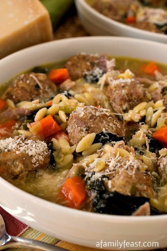 Turkey Meatball Soup with Orzo - A simple, hearty soup recipe with delicious turkey meatballs, vegetables, and orzo pasta. Great for feeding a crowd or leftovers the next day!