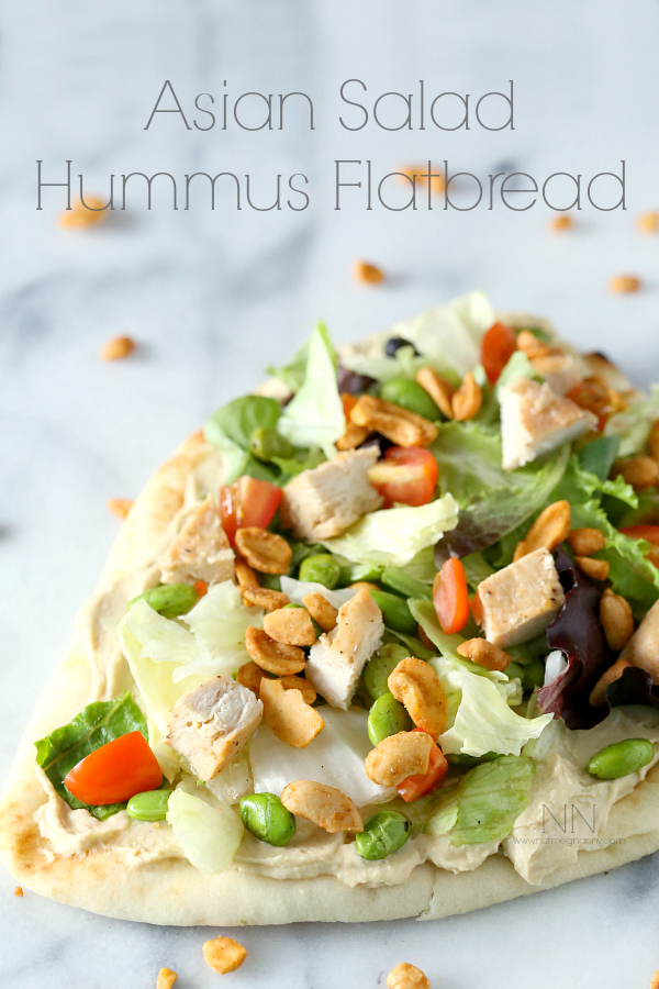 This Asian Salad Hummus Flatbread from Nutmeg Nanny is just one of over 20 delicious chicken salad recipes on A Family Feast