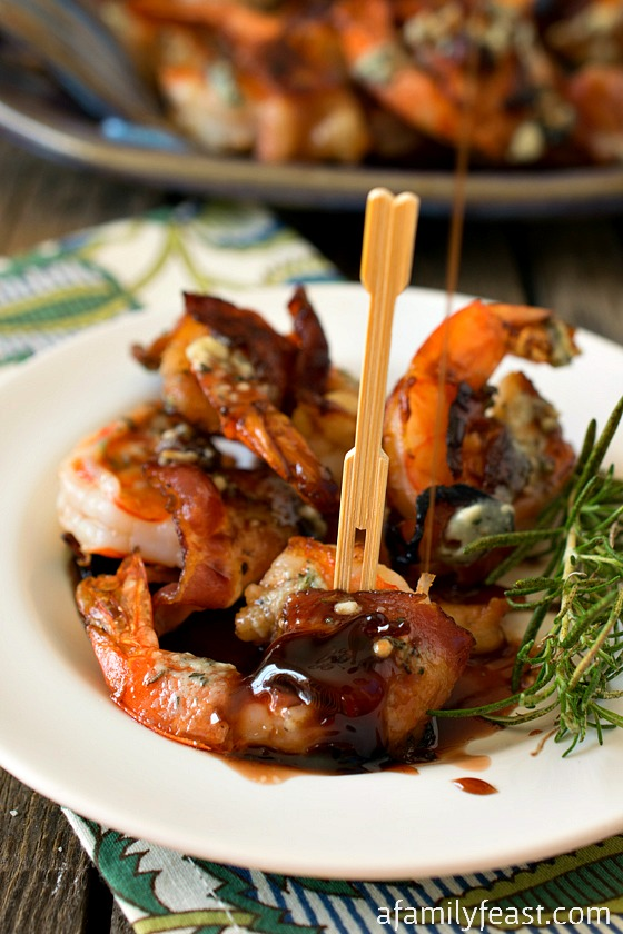Bacon-Wrapped Gulf Shrimp with Blue Cheese Butter and Port Reduction - A Family Feast