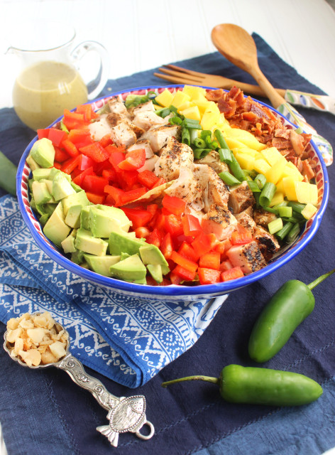 This Caribbean Cobb Salad from The Suburban Soapbox is just one of over 20 delicious chicken salad recipes on A Family Feast